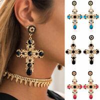 Vintage Baroque Style Crystal Luxury Gold Cross Large Women Long Dangle Earrings