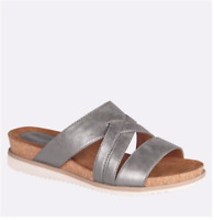 New Women's Cloudwalkers Strappy Woven Footbed Slides Sandals Silver Wide Width
