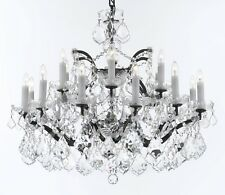 """19th C. Rococo Iron & Crystal Chandelier Lighting H 22"""" x W 30""""-Dressed w/ Luxe"""