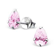 925 Sterling Silver pink cz pear Stud earrings 4mm x 6mm Childrens Girls ladies
