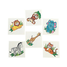 36 Fun Assorted Zoo Animal Kids Temporary Tattoos #39/2107