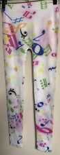 NEW M. USA Pink White Blue Green Music Notes Leggings Size One Size
