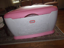 LITTLE TIKES TOY STORAGE PINK WHITE LARGE TOY BOX CHEST