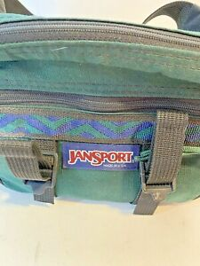 Vintage Jansport Fanny Pack Green Waist Hiking Belt Bag Bottle Holder USA
