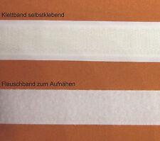 Klettband / Hakenband weiß 20mm selbstklebend & Flauschband zum Aufnähen