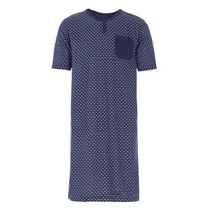 Men's short Sleeve Nightgown Button Row Breast Pocket Sleep Shirt Size M L XL