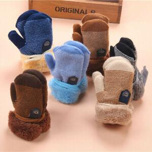 Winter Warm Toddler Baby Boy Girls Kids Thick Fur Gloves Neck String Mittens UK