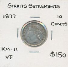 Straits Settlements 1877 Queen Victoria 10 Cents KM-11 VF