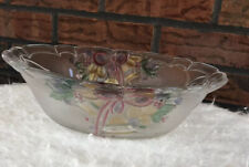 Clear Glass Etched Christmas Bowl Bells Bows Holly Holiday Decor Kitchen