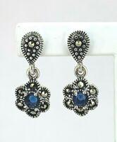 Saphir blau Stein Ohrstecker blauer Stein & Markasit   925er Silber