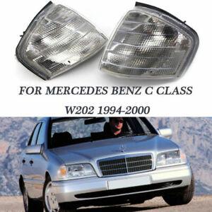 Pair Clear Corner Turn Signal Light for Mercedes Benz C Class W202 1994-2000