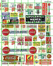 5011 DAVE'S DECALS HO VINTAGE MARKET GROCERY PRICES PRODUCE MEATS SIGNS AD SET