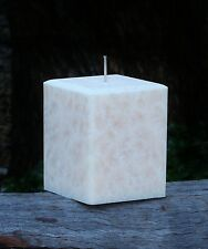 200hr VANILLA BABY POWDER Scented Square Architectural CANDLE Bevelled Edges