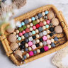 Baby Dummy Pacifier Clips Silicone Crochet Wooden Beads Nipple Chain Holder Toys