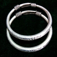 China Tibetan silver Carved round bar Silver Bracelet a pair