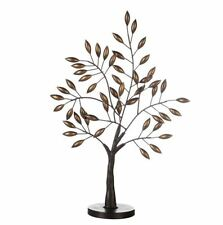 74739 Skulptur Baum Oak Metall dunkelbraun Blätter brüniert auf runder Basis