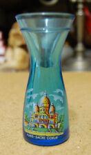 """beau petit vase bleu a decor de paris """"le sacré coeur""""    occasion"""
