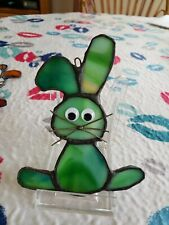 """Stained Glass""""Easter Bunny"""" sun catcher or ornament , 4.5 x 2 inch"""
