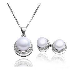 Elegantes Silber & weiße Perle rund Schmuckset Ohrstecker & Halskette S376