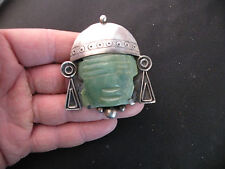 w carved Chrysoprase, Mexican silver Vintage 1950's sterling large pin, brooch
