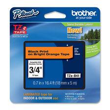 """Brother TZB41 3/4"""" black on orange TZ tape PT1400 PT18R PT2030AD PT9600 PT2430PC"""