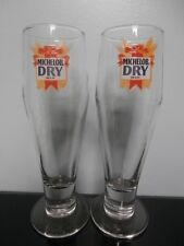 Set of Two Michelob Dry Tall Footed Beer Glasses