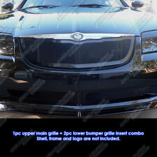 Fits 2004-2008 Chrysler Crossfire Black Mesh Grille Combo