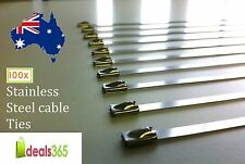 Cable Ties Pack of 100 Stainless Steel (SS 304) Heavy duty 7.9 x 600mm Exhaust