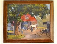 1963 WW RUDE Horse Buggy BLACKSMITH OIL PAINTING Scheibel REVERSE PROFILE FRAME