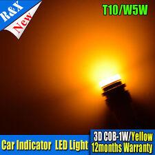 10X T10 1SMD COB 3D 1W Led Light Yellow 3000K Wedge Indicator W5W 2825 Lamp Bulb