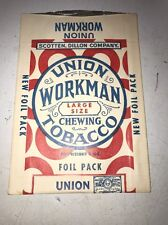 """Vintage Antique Union Workman Chewing Tobacco Advertising  Paper Pouch 7""""H"""