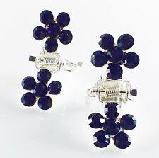 MINI Hair Claw Clip Rhinestone Crystal Hairpin Bridal Wedding Flower Purple 10