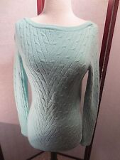 SAKS FIFTH AVENUE 100% CASHMERE LIGHT BLUE CABLE-KNIT SWEATER SMALL