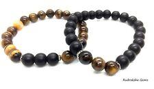 Matte Black Onyx & Tigers Eye Couple Bracelet Stone Bead Stretch Mens Ladies A++