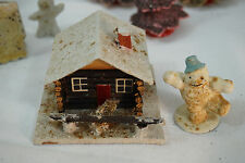 ANTIQUE CHRISTMAS DECORATIONS LOG CABIN CANDY CONTAINER SNOWBABY SNOWMAN LOT 2