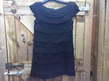 FRENCH CONNECTION BLACK BOAT NECK LAYERED CHIFFON SHIFT/TUNIC DRESS 14 UK