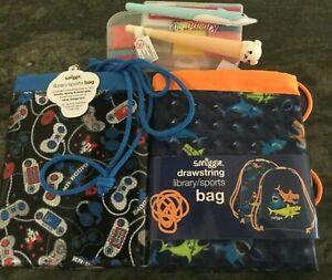 "2 ""SMIGGLE"" drawstring reader bags/sports bag with 2 eraser and 2 fancy pens"