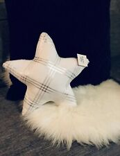 Velour STAR Throw Pillow Holiday Christmas - White & Silver 14""