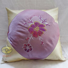 `purple with sequins embroidered floral Square Satin Cushion Cover/Pillow case