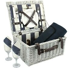 Picnic Basket for 2 with Waterproof Blanket, Durable Wicker Picnic Hamper Set...