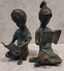 SPI MCM Mod Home Boy Girl Pair Brass Hand Painted Sculptural Bookends FREEUSHIP