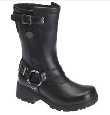 Harley Davidson Derringer Black Leather Mid Calf Black Boots Womens Sz 6 D83790