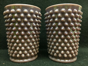 pair purple milk Hobnail pattern glass tumblers cup set lot wine goblet drinking