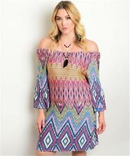 NEW..Stylish Plus Size Vibrant Print Off the Shoulder Dress..SZ18/2XL