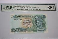 (PL) NEW: RM 5 NA 5284461 PMG 66 EPQ AZIZ TAHA 5TH SERIES 1ST PREFIX UNC