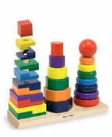 Melissa & Doug Geometric Stacker Wooden Educational Classic Toy FREE SHIPPING