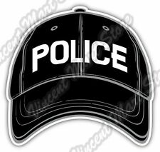 "Black Police Baseball Cap Hat Gift Idea Car Bumper Vinyl Sticker Decal 5""X4"""