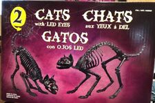 "2 NEW Halloween SKELETON BLACK CAT LED Eyes UNDEAD HAUNTED House Prop 23"" &19.5"""