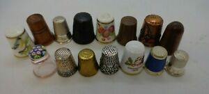 15 Thimbles Mixed Job Lot Silver Coal Wool China Glass All Different      #E1