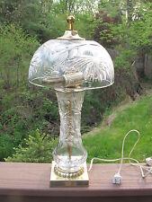 """Vintage Crystal Mushroom Lamp 17"""" Tall Artist Signed U.S.A."""